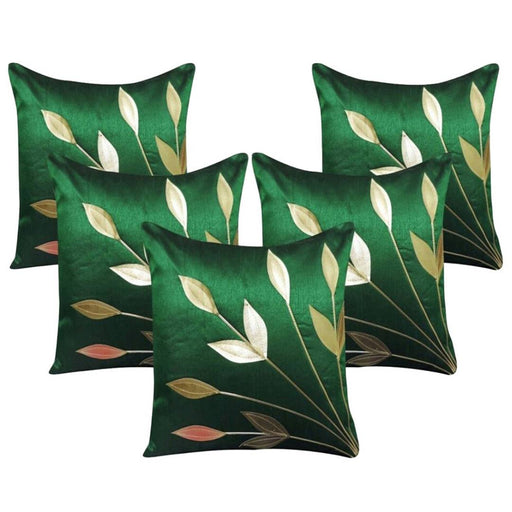Golden Leaf Green Cushion Covers Pack Of 5