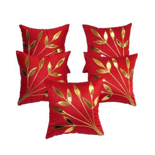 Golden Leaf Red Cushion Covers Pack Of 5