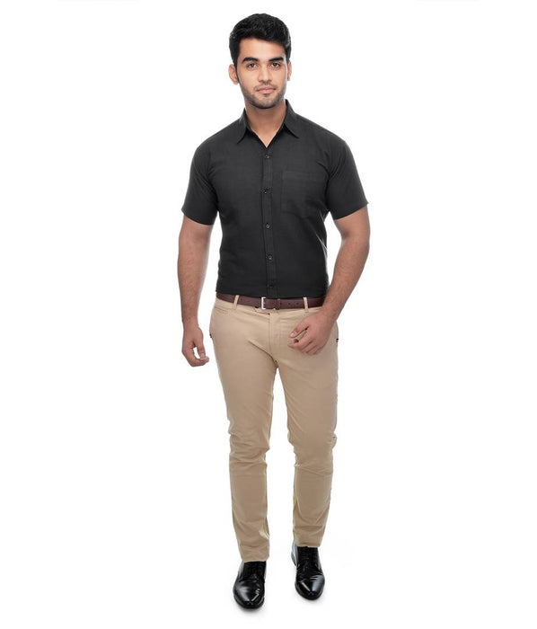 Black Cotton Solid Regular Fit Formal Shirt