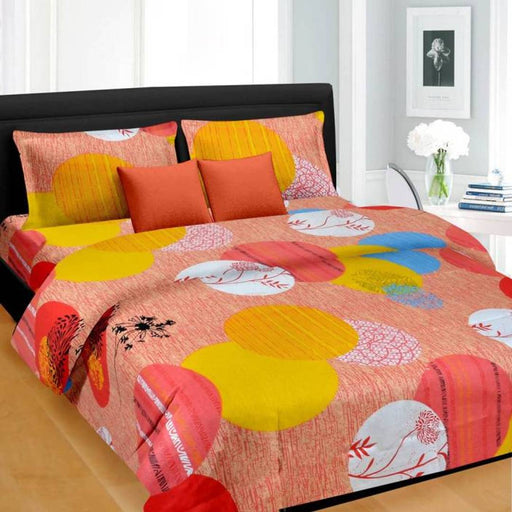 Multicoloured Abstract Queen Size Cotton Bedsheets With 2 Pillow Cover