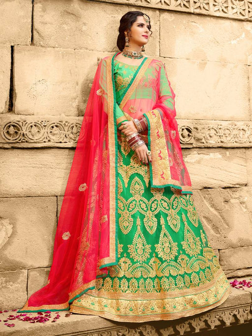 Green Embroidered Semi Stitched Lahenga