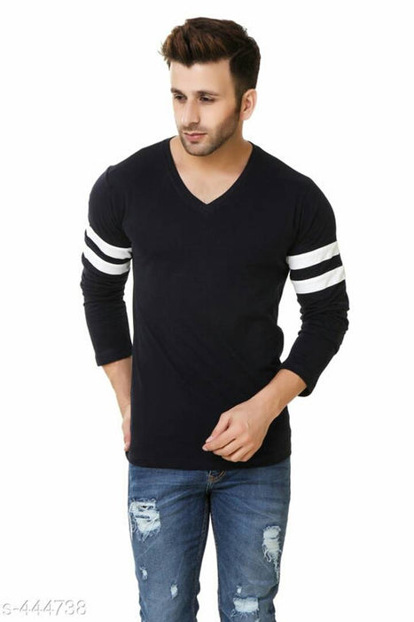 Black Cotton Solid V Neck Tees