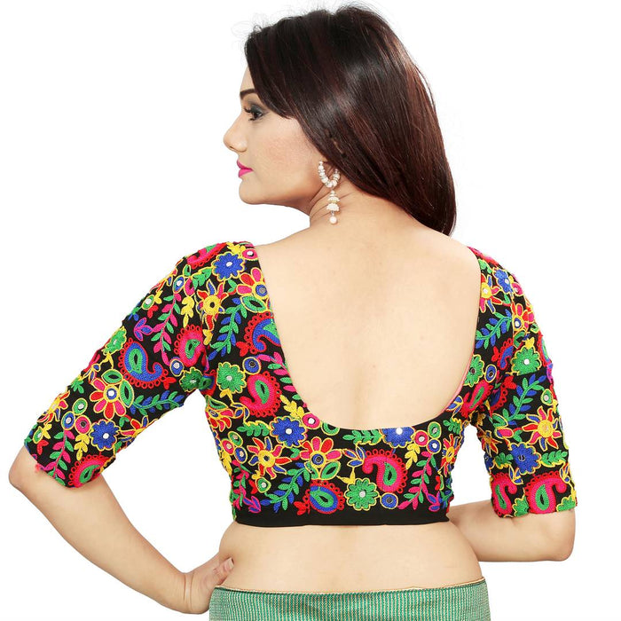Multicoloured  Embroidered Unstitched Blouse Material