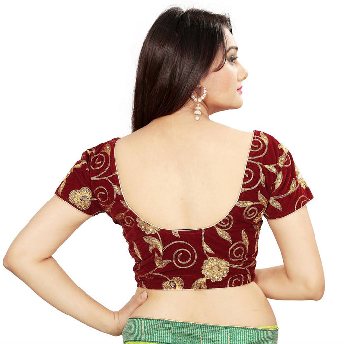 Maroon Embroidered Unstitched Blouse Material