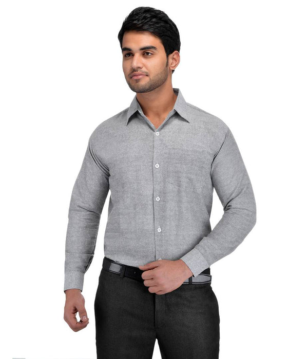 Grey Cotton Regular Fit Formal Shirt