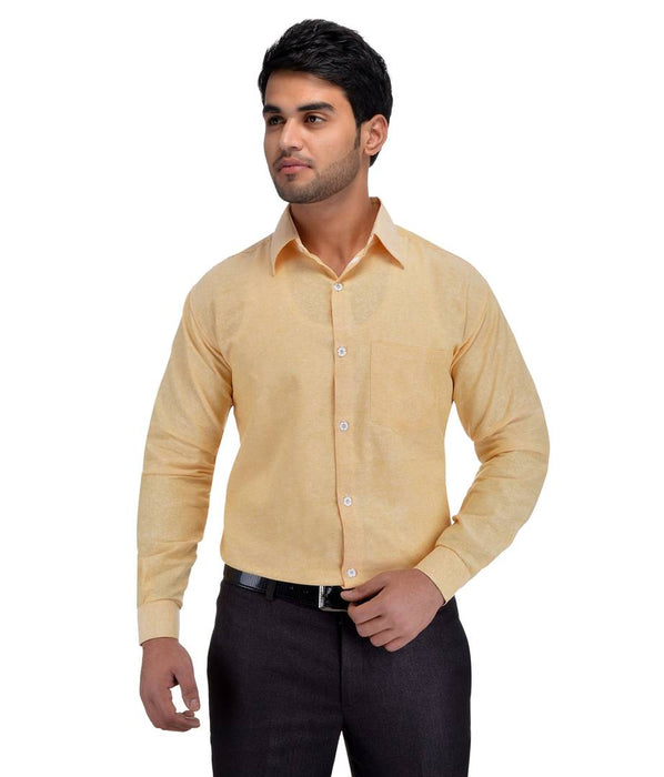 Beige Cotton Regular Fit Formal Shirt