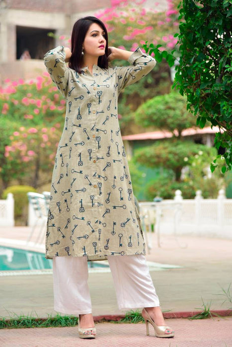 Beige Printed Cotton A-Line Casual Kurta