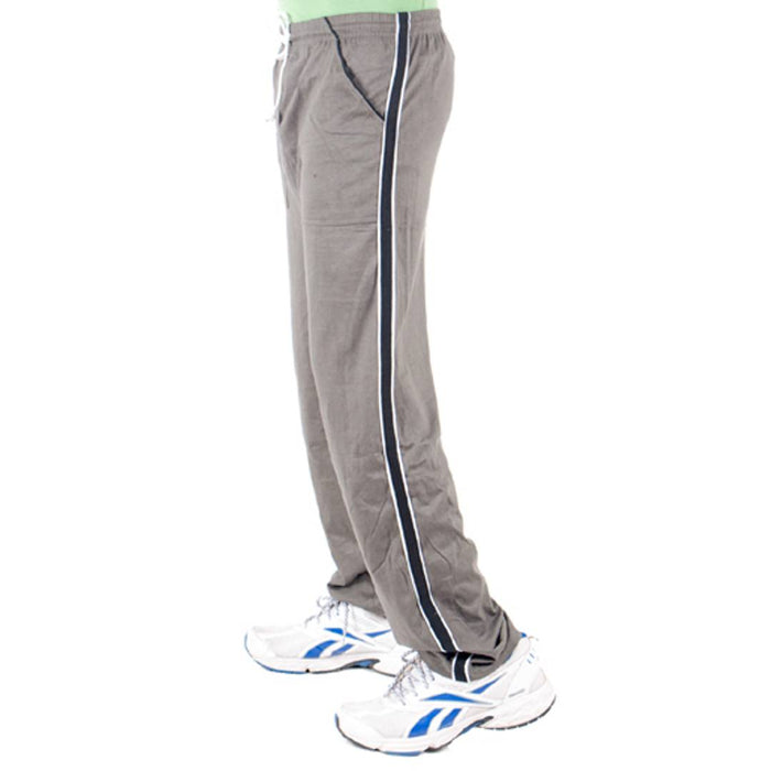 Grey Cotton Solid Regular Track Pants