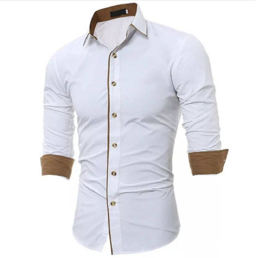White Solid Cotton Slim Fit Casual Shirt
