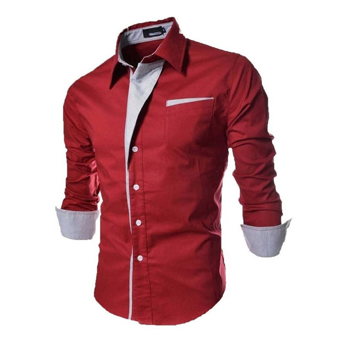 Red Solid Cotton Slim Fit Casual Shirt