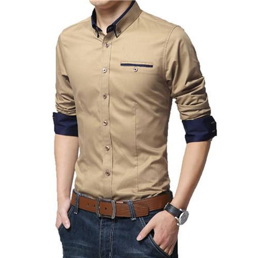 Tan Solid Cotton Slim Fit Casual Shirt