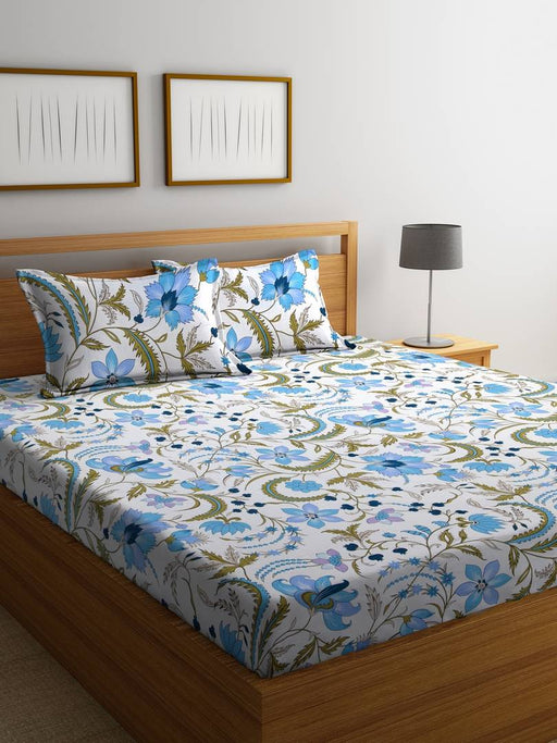 Super Premium Double Bed Sheet With 2 Pillow Cover-104Tc