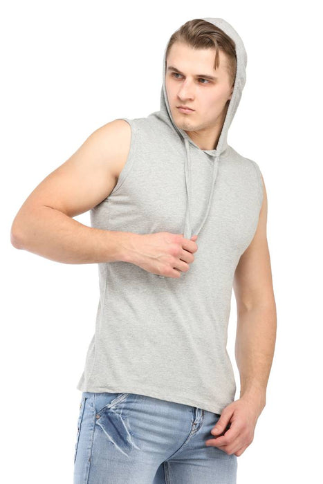 Men Grey Cotton Solid Cut Hooded Tees