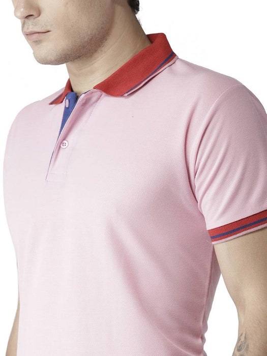 Men Pink Cotton Blend Solid Polos T-Shirt
