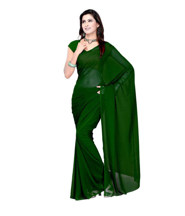 Green Solid Georgette Saree with Blouse piece