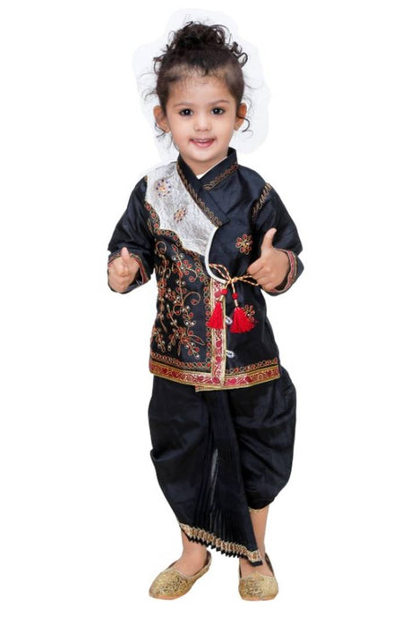 Boys Festive & Party Dhoti & Kurta Set  (Black Pack of 1)
