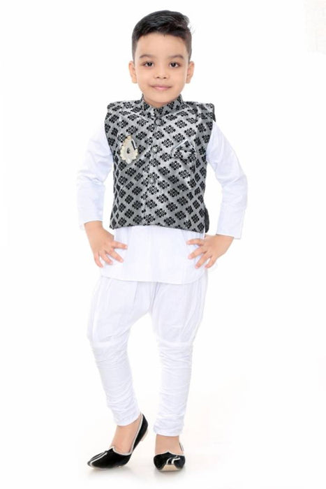 Boys Festive & Party Kurta, Waistcoat and Pyjama Set