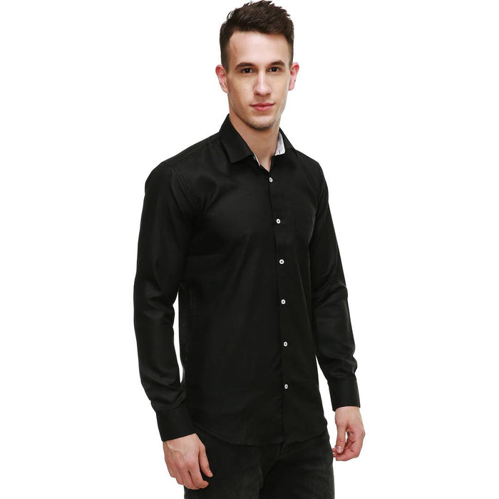 Black Cotton Solid Slim Fit Casual Shirt