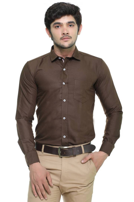 Brown Cotton Solid Full Sleeve Formal Shirt