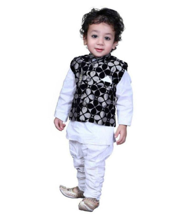 RHR  White Kurta payjama with Velvet Jacket