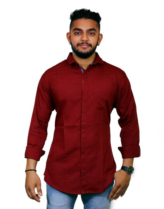 Jugend Red Coloured Linen Casual Slim Fit shirts for men