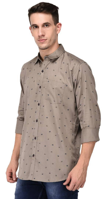 Jugend Grey Cotton printed casual shirts for men