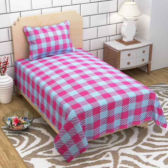Multicoloured Cotton Single Bedsheet With 1 Pillowcover