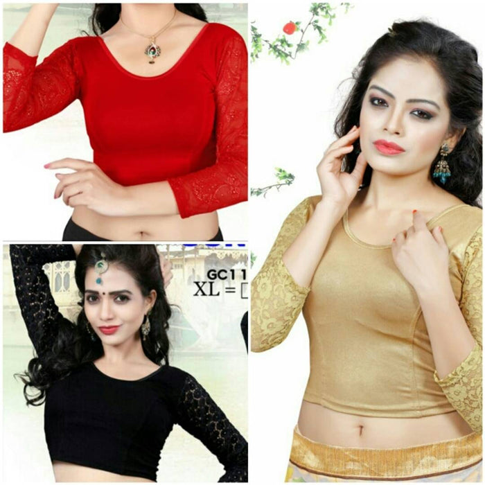 Combo pack of  red,golden and black readymade stretchable blouse