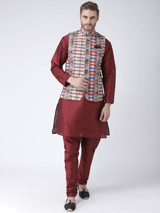 Men Multicoloured Printed Nehru Jacket With Pocket Square