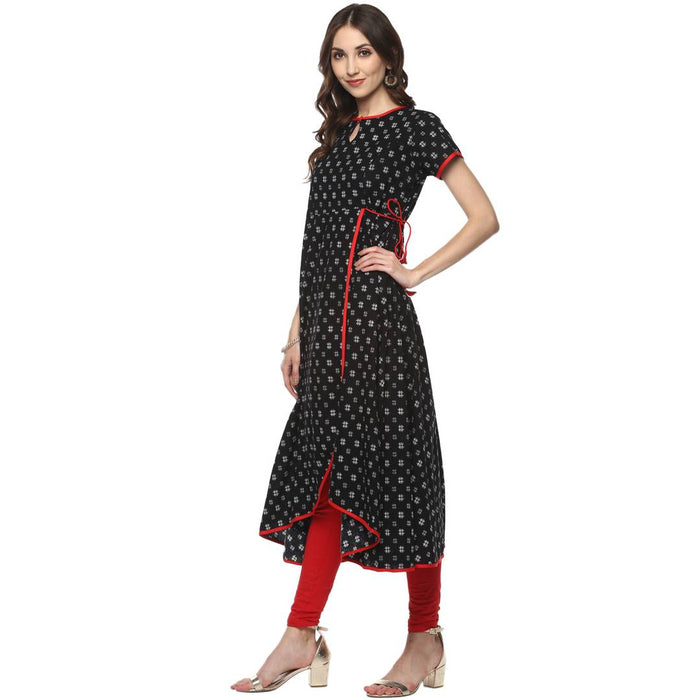 Black Printed Cotton A-Line Kurti for Women's
