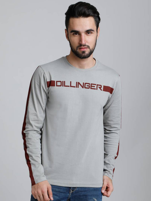 Dillinger Men's Grey Printed Cotton Round Neck T Shirt
