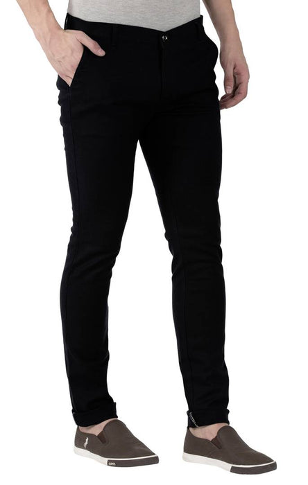 Black Stretchable Slim Fit Trousers For Men