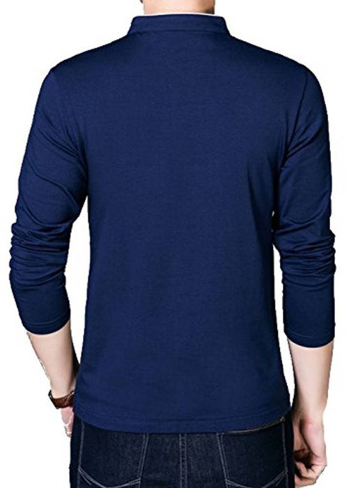 Seven Rocks Navy Blue Cotton Blend Solid Henley Tees