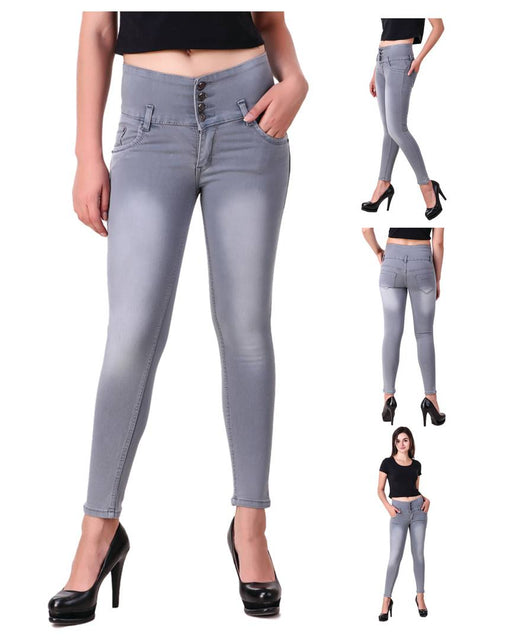 Grey Denim Regular Fit Mid Rise Jeans