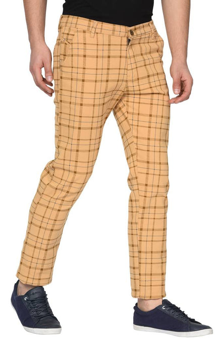 Brown Stretchable Slim Fit checked casual Trousers for Men's