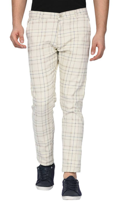 Beige Stretchable Slim Fit checked casual Trousers for Men's