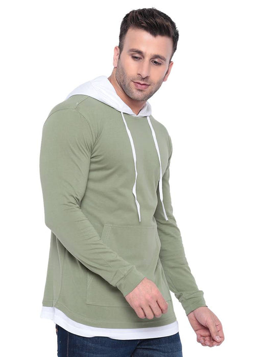 Gritstones Moss Green/ White Full Sleeve Hooded T Shirt