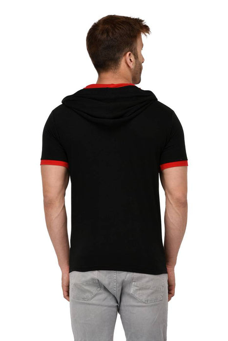 Black Cotton Solid Hooded Tees