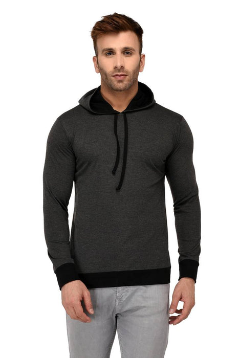 Grey Cotton Solid Hooded Tees