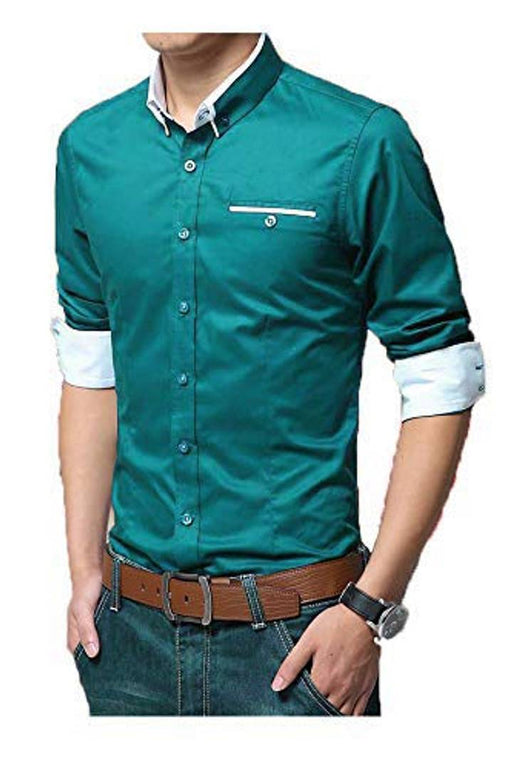 Turquoise Solid Cotton Slim Fit Casual Shirt