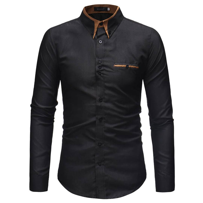 Black Solid Cotton Slim Fit Casual Shirt