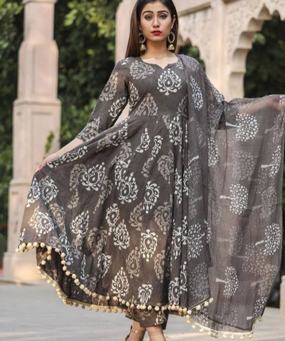 Elegant Grey Pompom Block Printed Kurti Palazzo With Dupatta Set