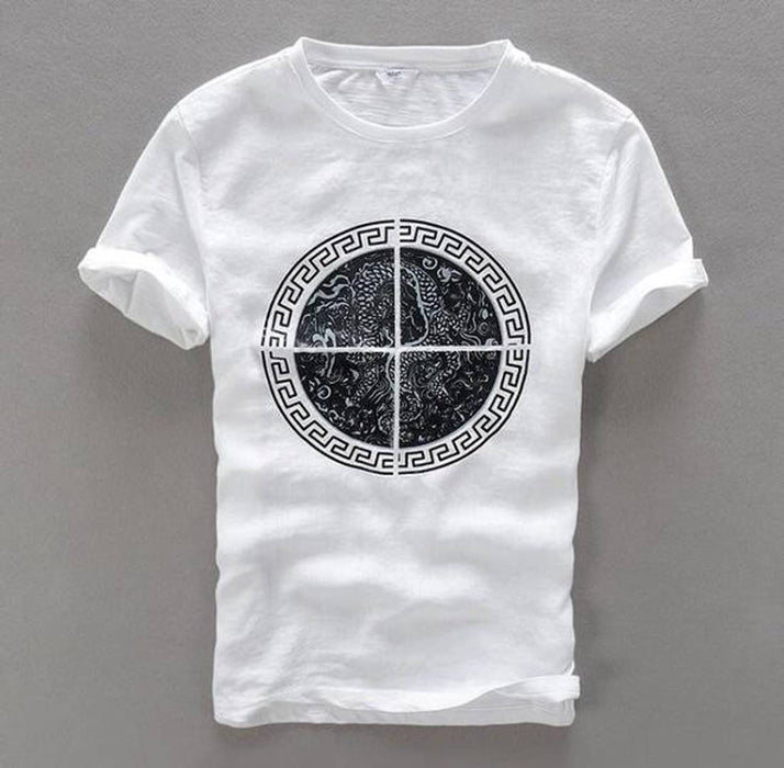 White Printed Cotton Round Neck T-Shirt