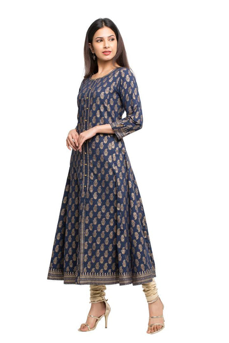 Women's Navy Blue Printed Cotton Anarkali Kurta