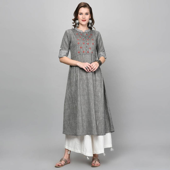 Trendy Grey Solid Cotton A-Line Kurti for Women