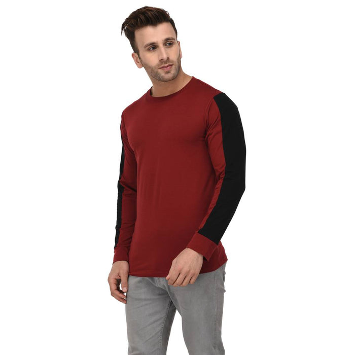 Maroon Cotton Self Pattern Round Neck Tees
