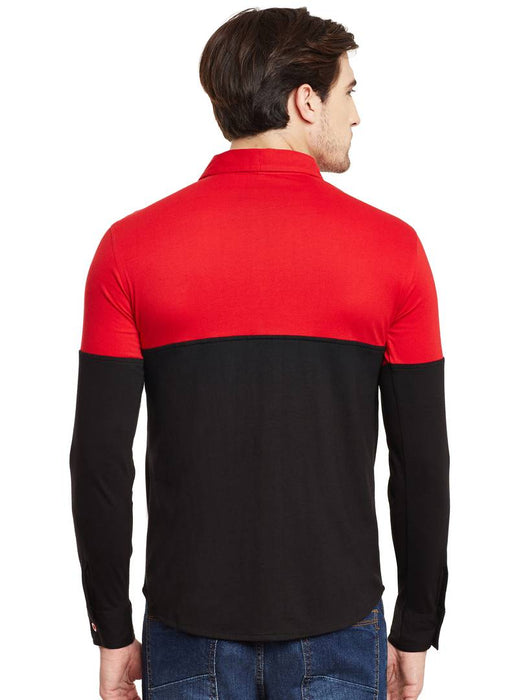 Red Cotton Long Sleeves Regular Fit Casual Shirt