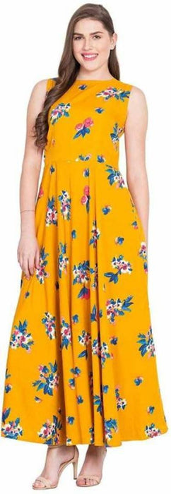 Stylish Yellow Printed Long Crepe Kurta