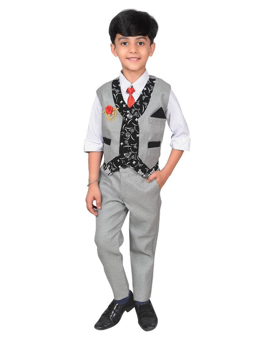 Boys Kids Cotton Blended Waistcoat, Shirt, Tie Trouser Set