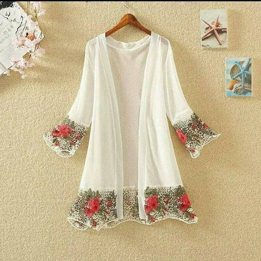 Trendy embroidered imported long shrug